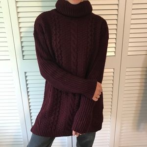 Dark Red Turtle Neck Sweater Tunic